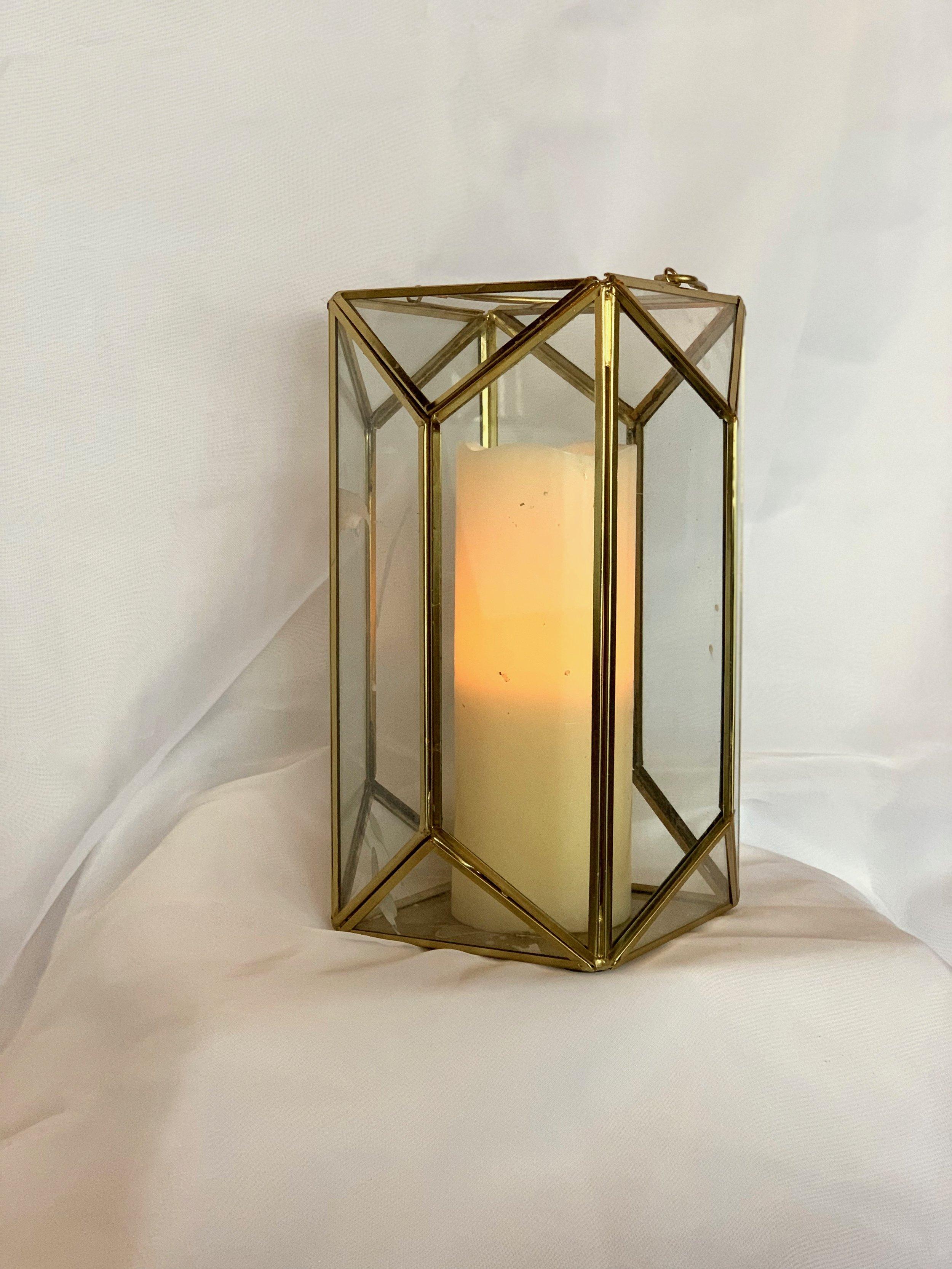 GOLD GEOMETRIC LANTERN W/ CANDLE $15.00