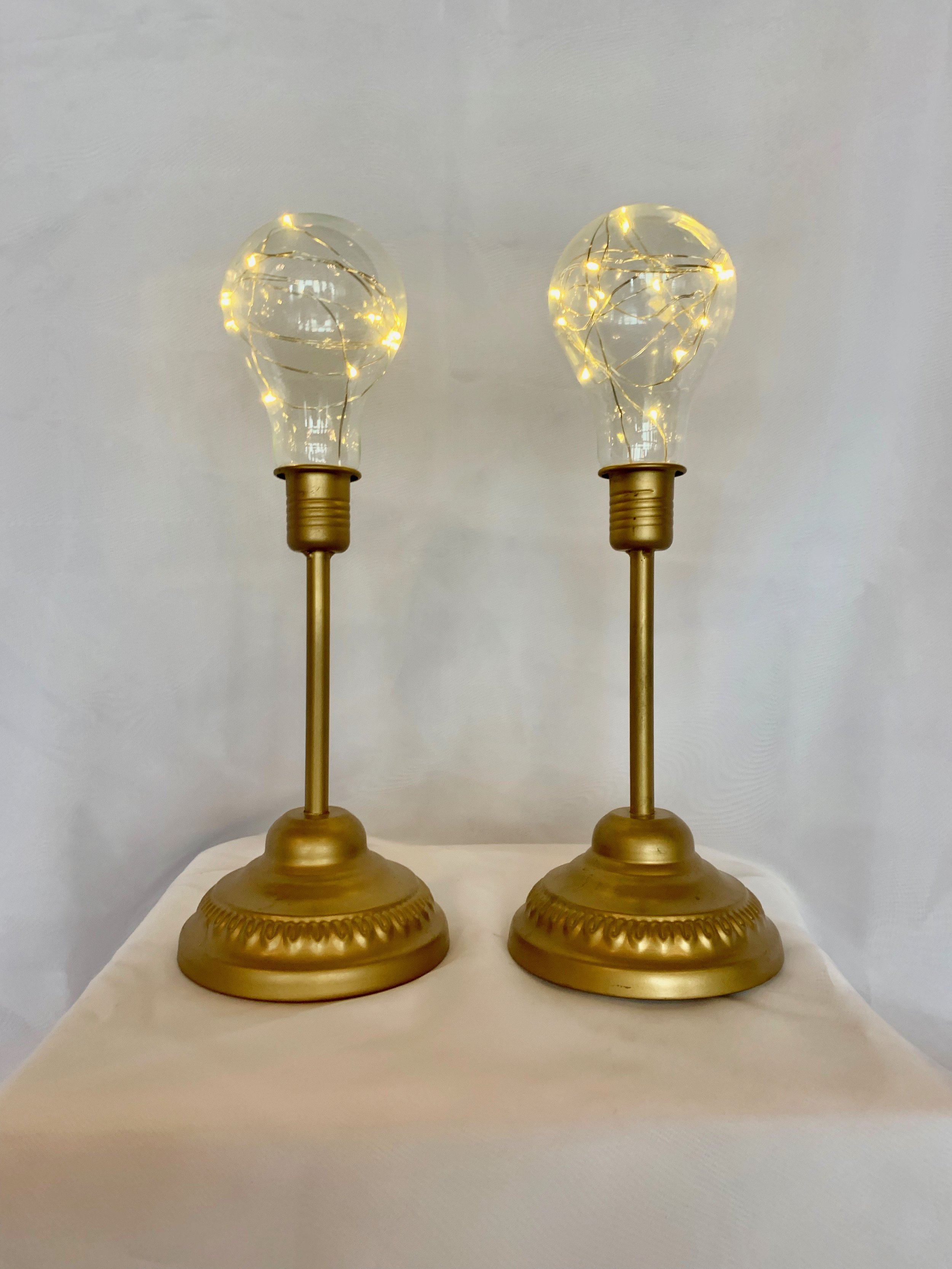 GOLD EDISON LAMP BATTERY OPERATED SET OF 3 $15.00