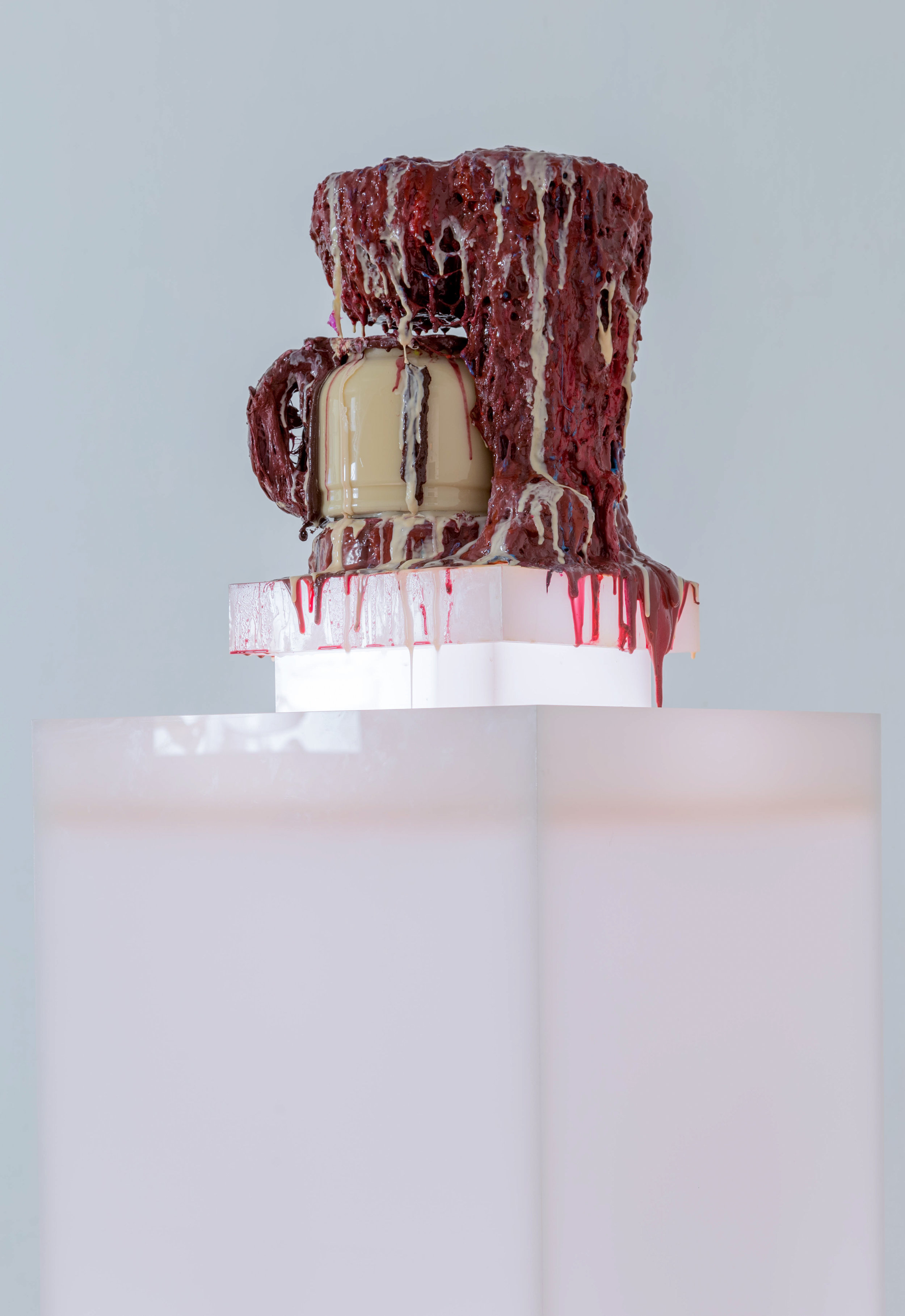 The Consumed Body Purification System: Prick! Drip! Sip!  Coffee maker, plastic reservoir, pump, urethane foam, silicone rubber, acrylic pedestal, rubber tubing, water, tempra paint, methycel, LED lights 2018 (Installation view from  CONSUMED  @ California Institute Of The Arts)
