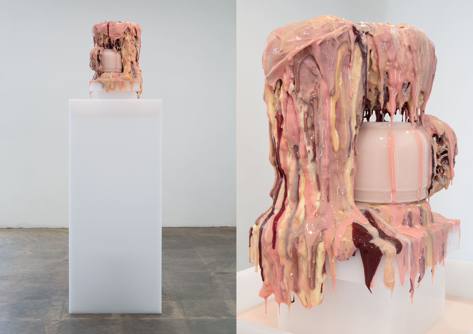 The Consumed Body Purification System (Live Demo)  Acrylic pedestal, pump, plastic reservoir, rubber tubing, coffee machine, urethane foam, silicone rubber, human hair, coffee scented oil, methycel, tempra paint, water; 2018 (Installation view from Rattlesnake Bells In The Desert @ The Box in Los Angeles)