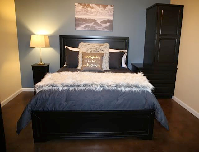 """The Esta Noche Room - """"Esta Noche"""" means tonight in Spanish. This room can accommodate 2 guests.The Esta Noche Room includes a plush queen bed with touches of navy blue and soft greys, private walk-in bathroom with glass shower, mini refrigerator, cable & internet.Pricing Starting At $175 a night"""