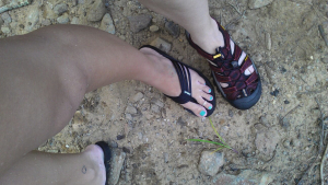 Me and the Southern Fried Daughter's feet. On Alabama land.
