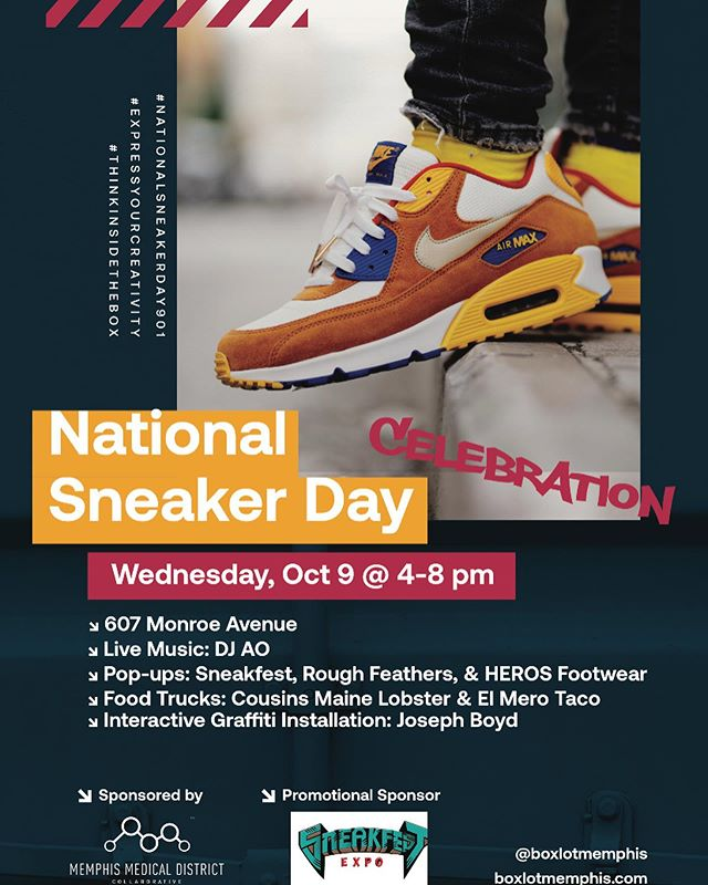 We're only 2 days away from #NationalSneakerDay901 at BOXLOT!  Come to BOXLOT to celebrate the unique elements of sneaker culture, vibe to the sounds of DJ AO, show off your fresh kicks, shoot some hoops, and check out the fresh kicks offered by BOXLOT's retail tenants - Majik & Co. and Kickspins. Meet other sneaker-heads and #ExpressYourCreativity as you #ThinkInsideTheBox.  Featuring:  @djao901 • @flightoffancyco • @sneakfest • @rfclothing • @herosfootwear • @elmerotaco • @cousinsmainelobster & a Fresh Kicks Contest (register for the kicks contest @ our link in bio)! @mmdc901 #vitalconnections #mustbememphis #thingstodoinmemphis #shoemadness #memphismadness2016