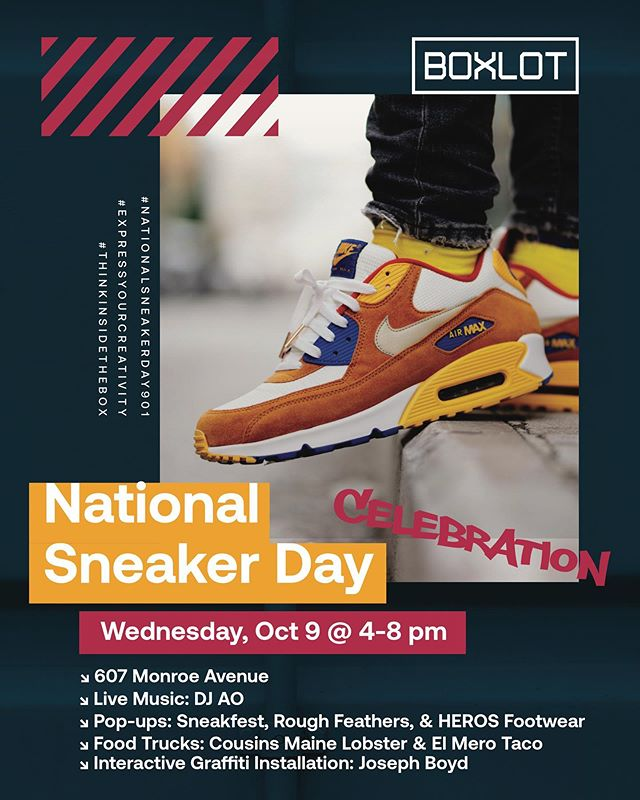 Happy #NationalSneakerDay901! Put on your freshest kicks & come celebrate with us from 4-8pm at #BOXLOT. Enter for a chance to win a $100 BOXLOT gift card (link in bio).👀📦👟📦👀 @majik_company • @kickspins901  @rfclothing • @djao901 • @flightoffancyco • @herosfootwear • @sneakfest • @thefrostedoven • @filtered_focus • @cousinsmainelobster • @elmerotaco • @mmdc901