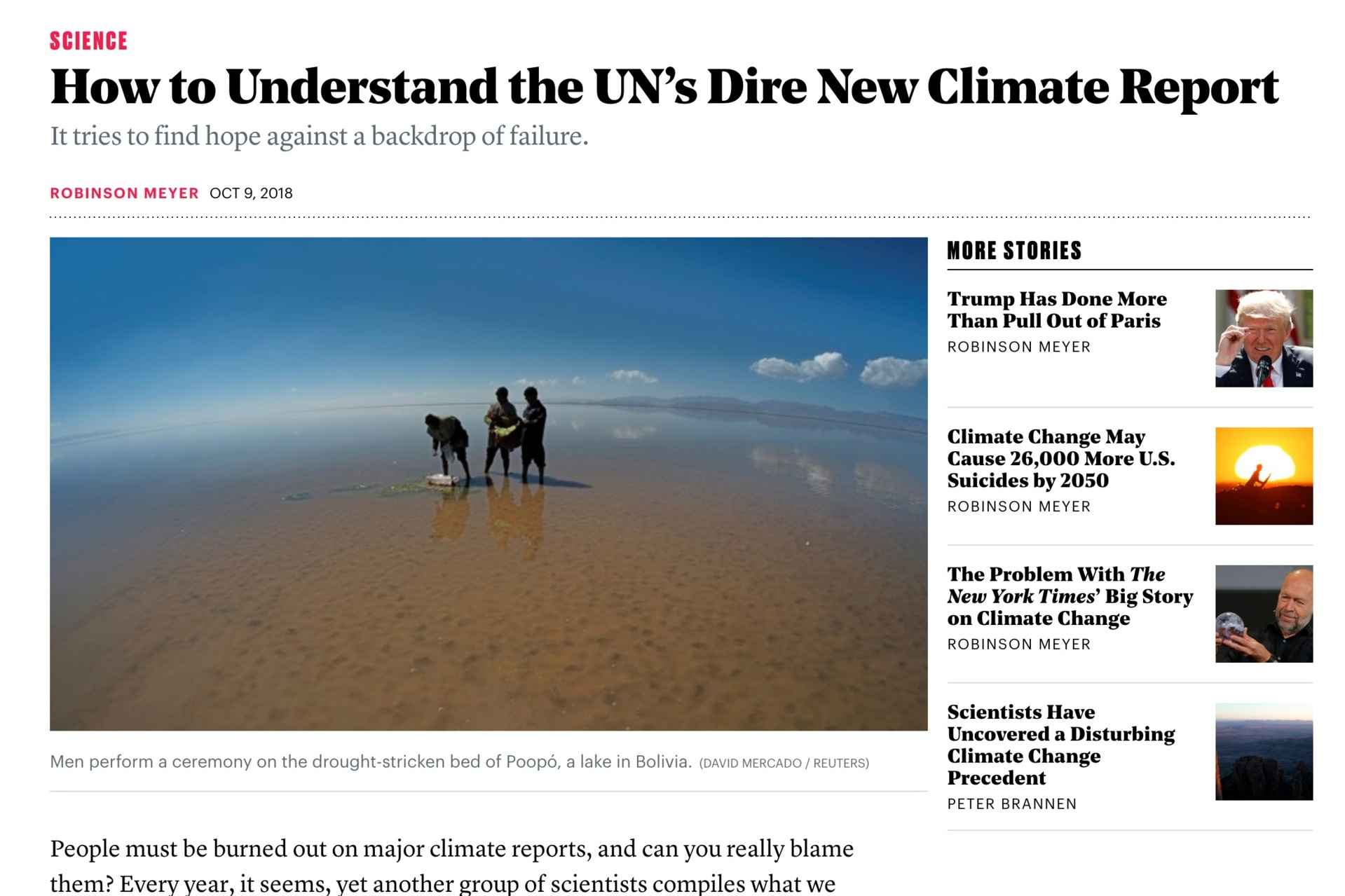 - How to Understand the UN's Dire New Climate Reportby Robinson Meyer, October 9, 2018, The Atlantic