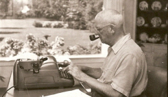 … and using his cherished Royal Electric typewriter -