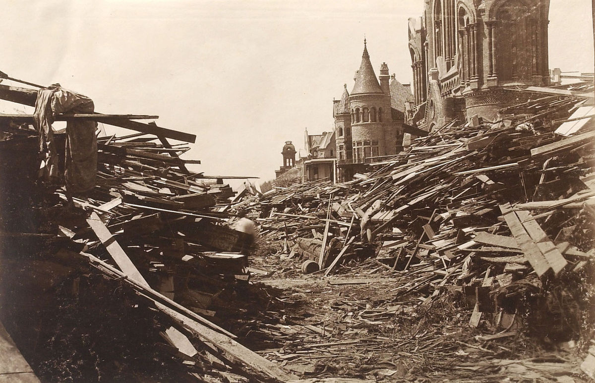 This photo is of Broadway, a thoroughfare in Galveston, following The Great Storm of 1900. The storm killed somewhere between 6,000 and 12,000 people overnight.