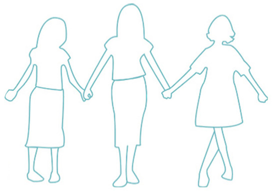 three people holding hands illustration