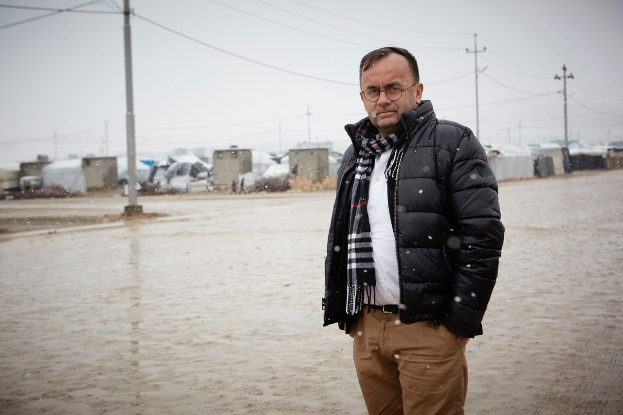Father Patrick Desbois in a Yazidi refugee camp.