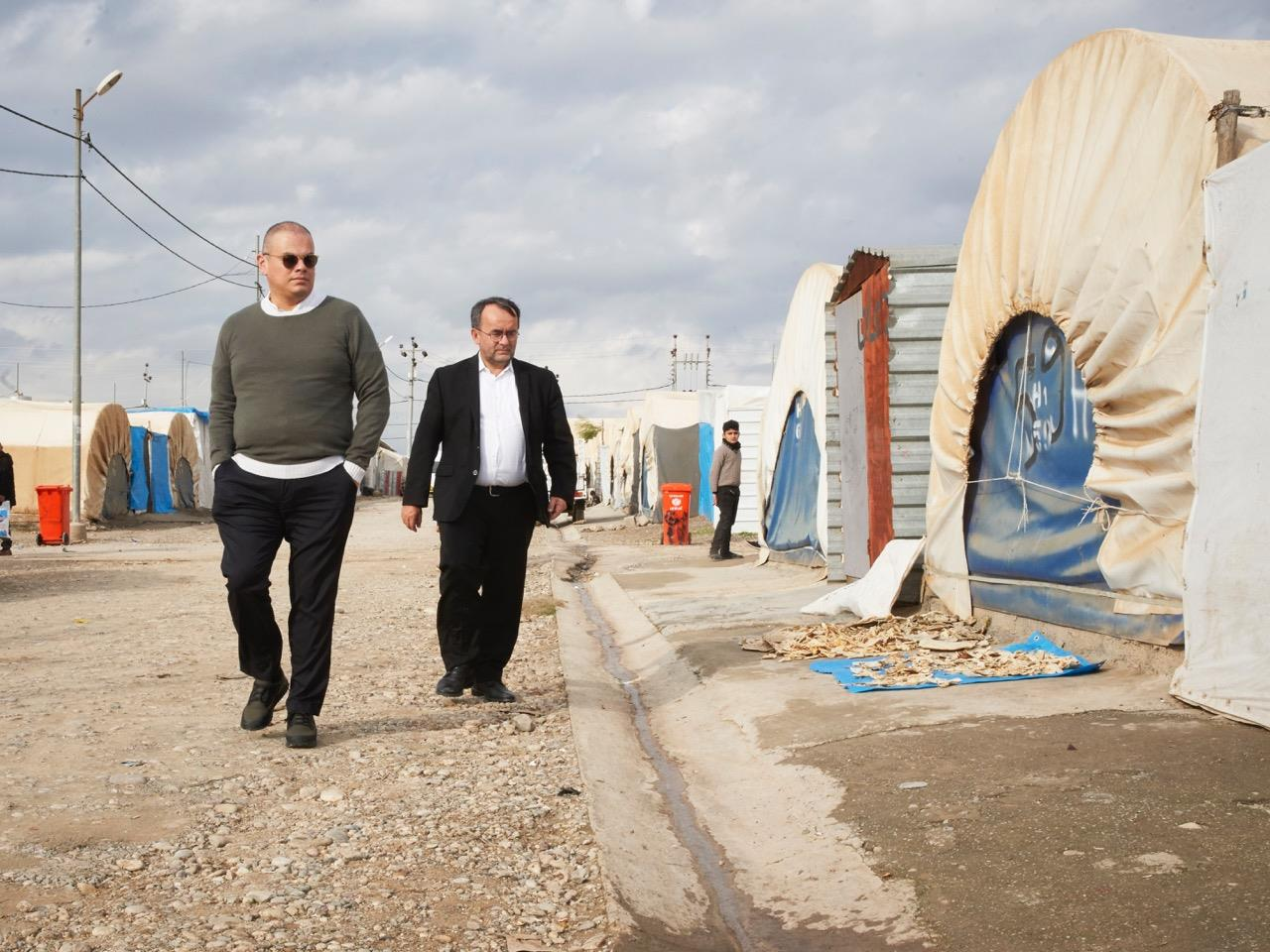Marco tours a Yazidi refugee camp in Northern Iraq