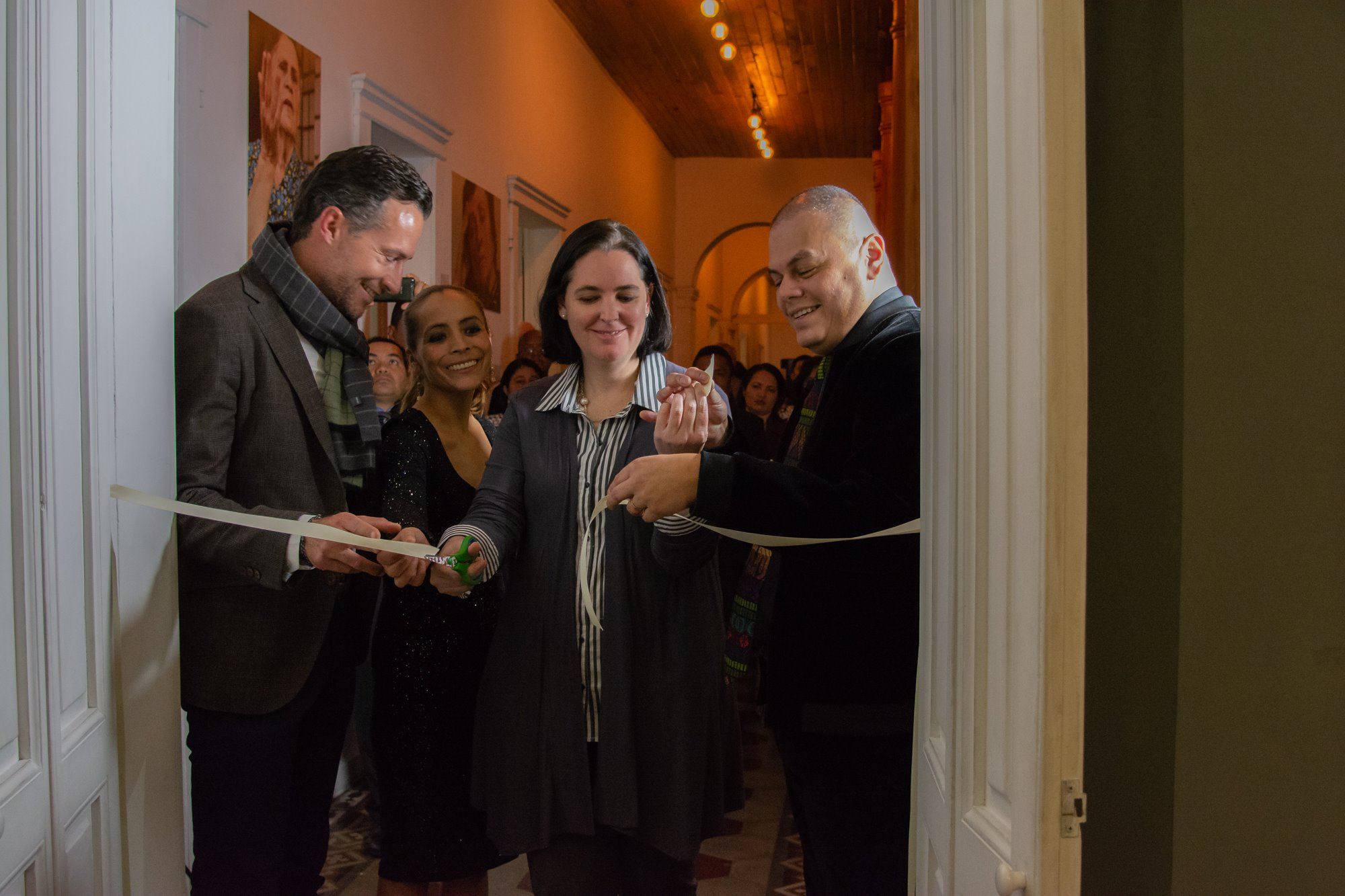 """Marco and guests at the opening of the """"Mi Nombre Es"""" exhibit at the Museo del Holocausto Guatemala"""