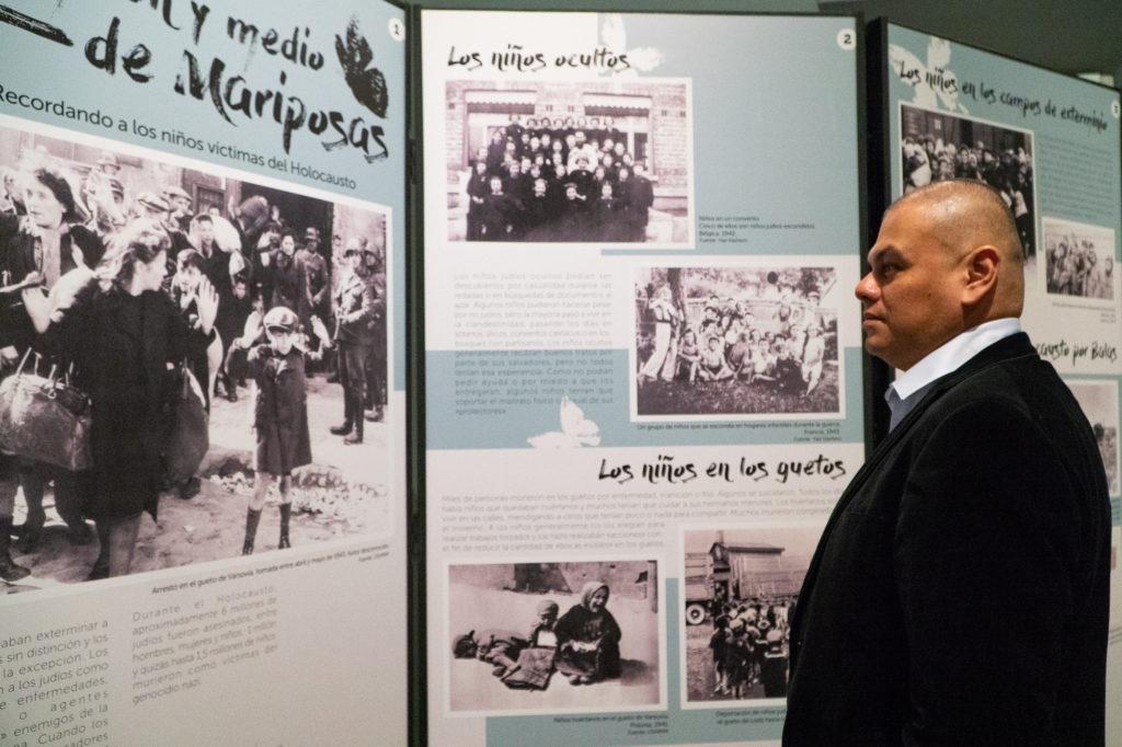 Marco examines an exhibit on display at Museo del Holocausto Guatemala