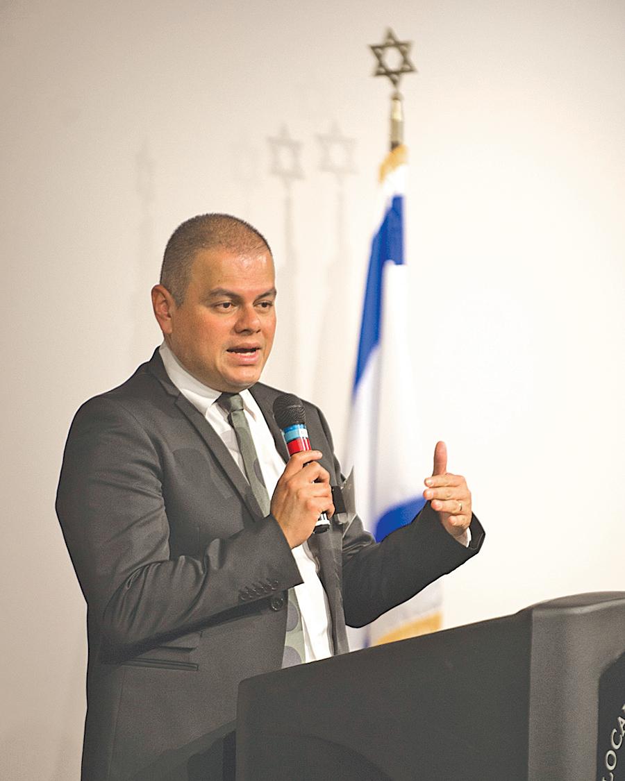 Marco speaking at The Holocaust Memorial Center in Farmington Hills, Michigan