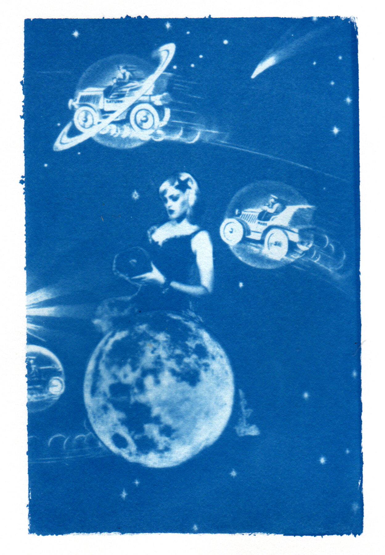 Amanda and her jukebox on the moon.  We Travel the Spaceways, cyanotype 2011.