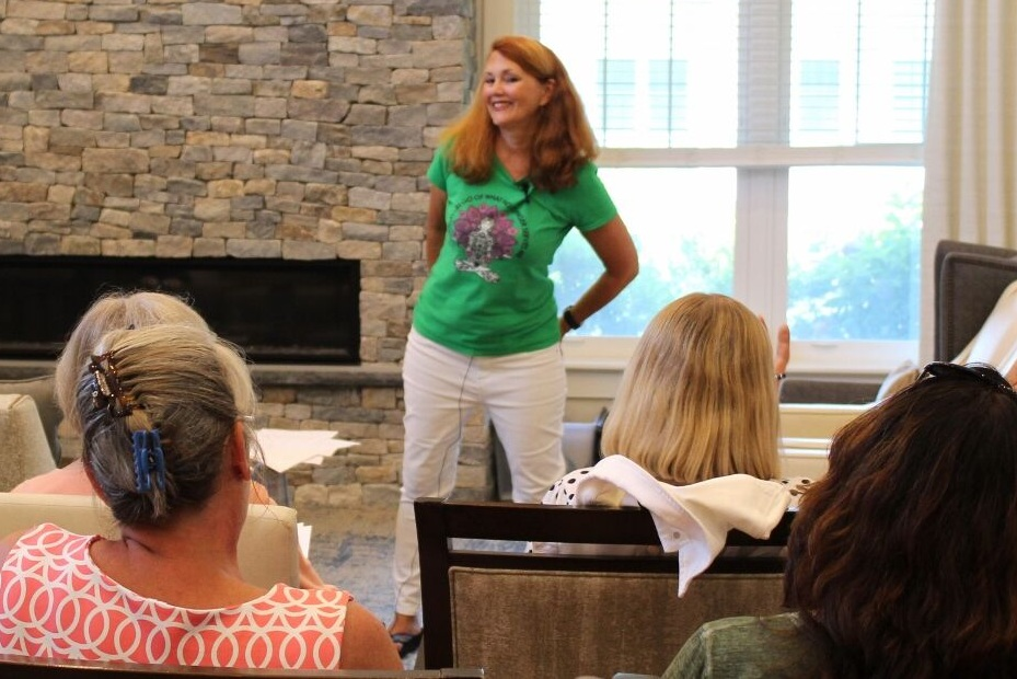 Julie speaking at a recent event at Maplewood in Brewster.