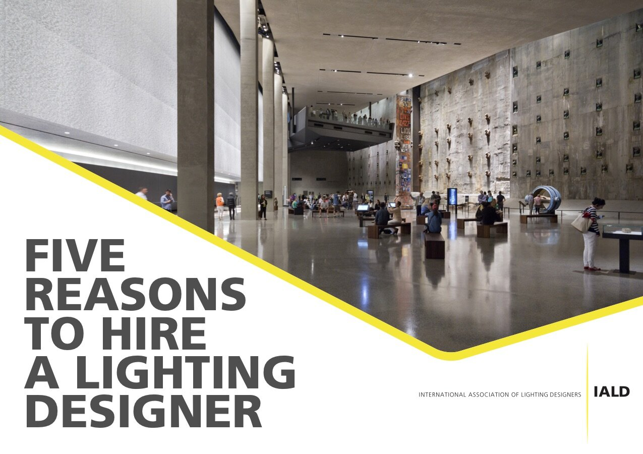 Postcard for architects, interior designers, and building owners detailing the benefits of hiring a lighting designer.   Click to see full postcard.