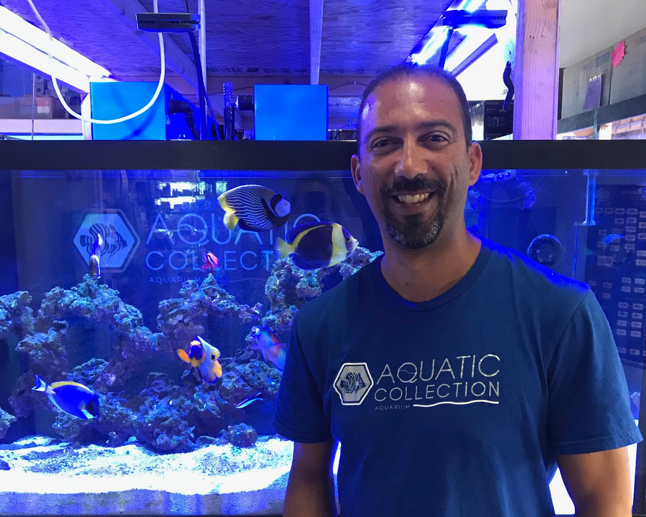Ramon - Ramon is originally from Puerto Rico and speaks Spanish and English. He has owned aquariums for 18 years. Ramon's favorite fish is the Emperor Angel and he loves ALL coral. Ramon used to work as a Sport Fishing Boat Captain and loves watching football (NFL).