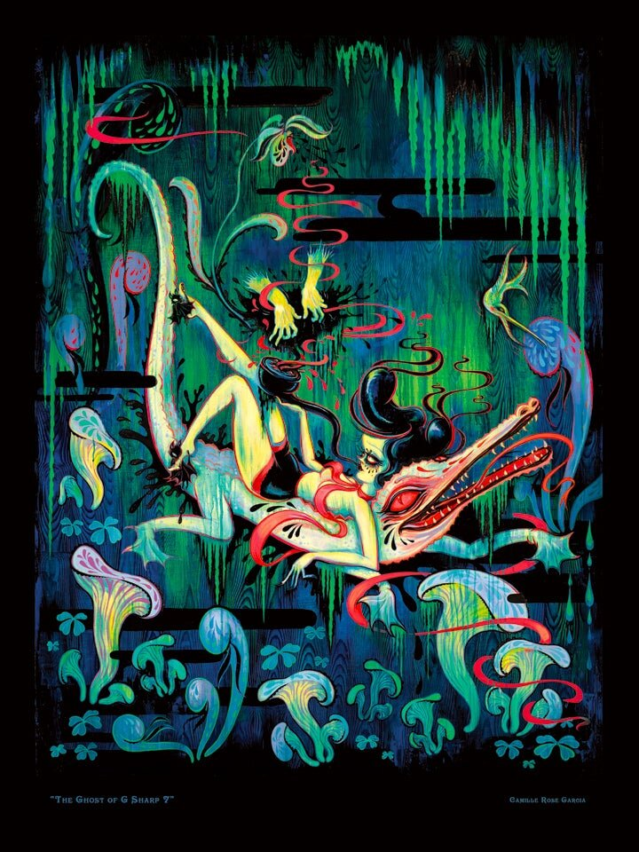 """BACK IN STOCK!! A nicely priced poster of one of my favorite paintings! """"The Ghost of G Sharp 7"""", featured in the traveling museum show, """"Turn The Page: Hi-Fructose, The First 10 years"""". Suitable for framing if you're feeling fancy, or try a casual hanging with binder clips for the lo-fi art collector. Open edition."""