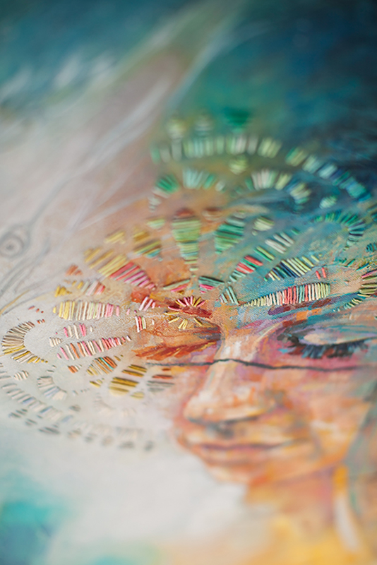 Embroidery Thread Detail on Portrait Painting by Charla Maarschalk