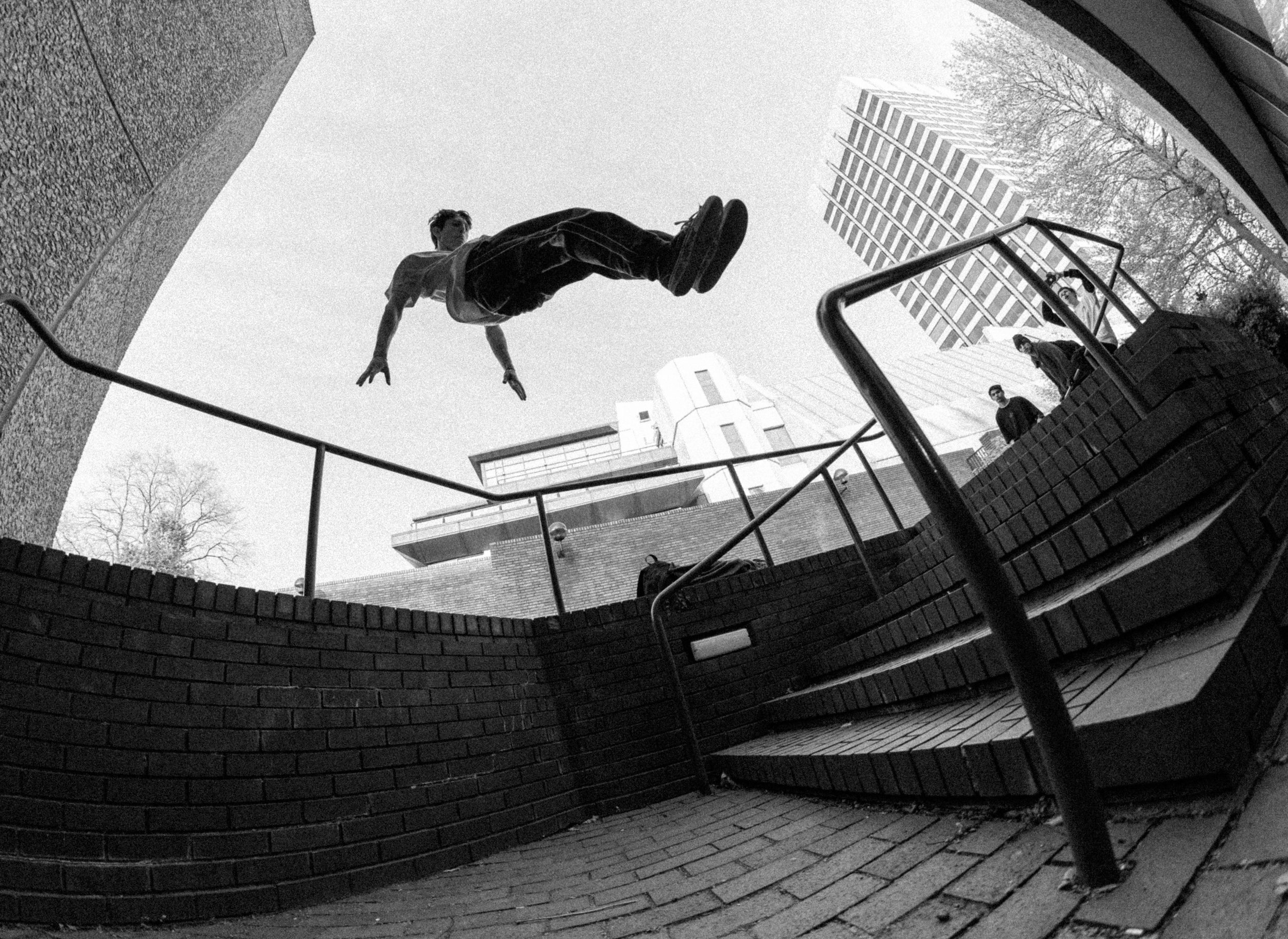 PHOTO: ACTION SHOT - We're looking for the perfect capture of a (100% real) Parkour movement. We want your photos to show the moment as genuinely as possible and we want to be able to gauge whats going on in the photo (no fake air form poses!)