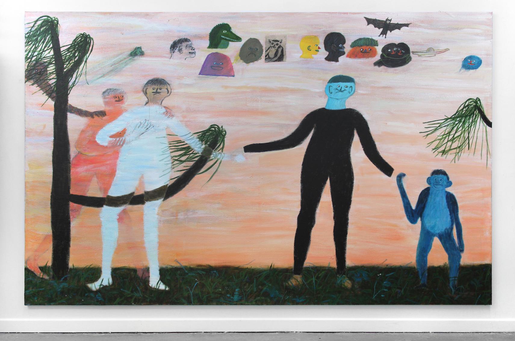 Hyperconscious Frog Sonnets , 2019   acrylic on flax  350 x 220cm