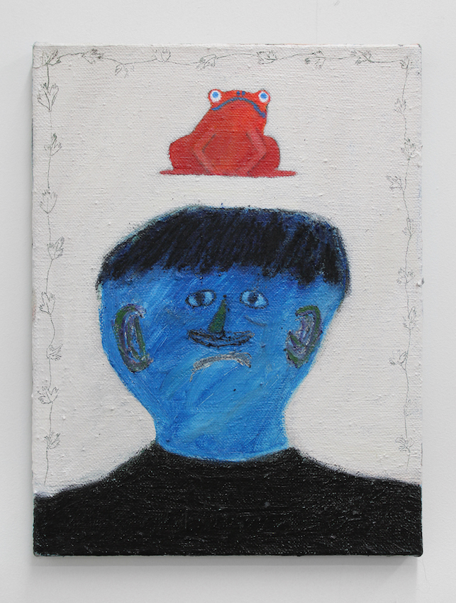 Blue Face, Red Frog , 2019  acrylic on flax  40 x 30cm