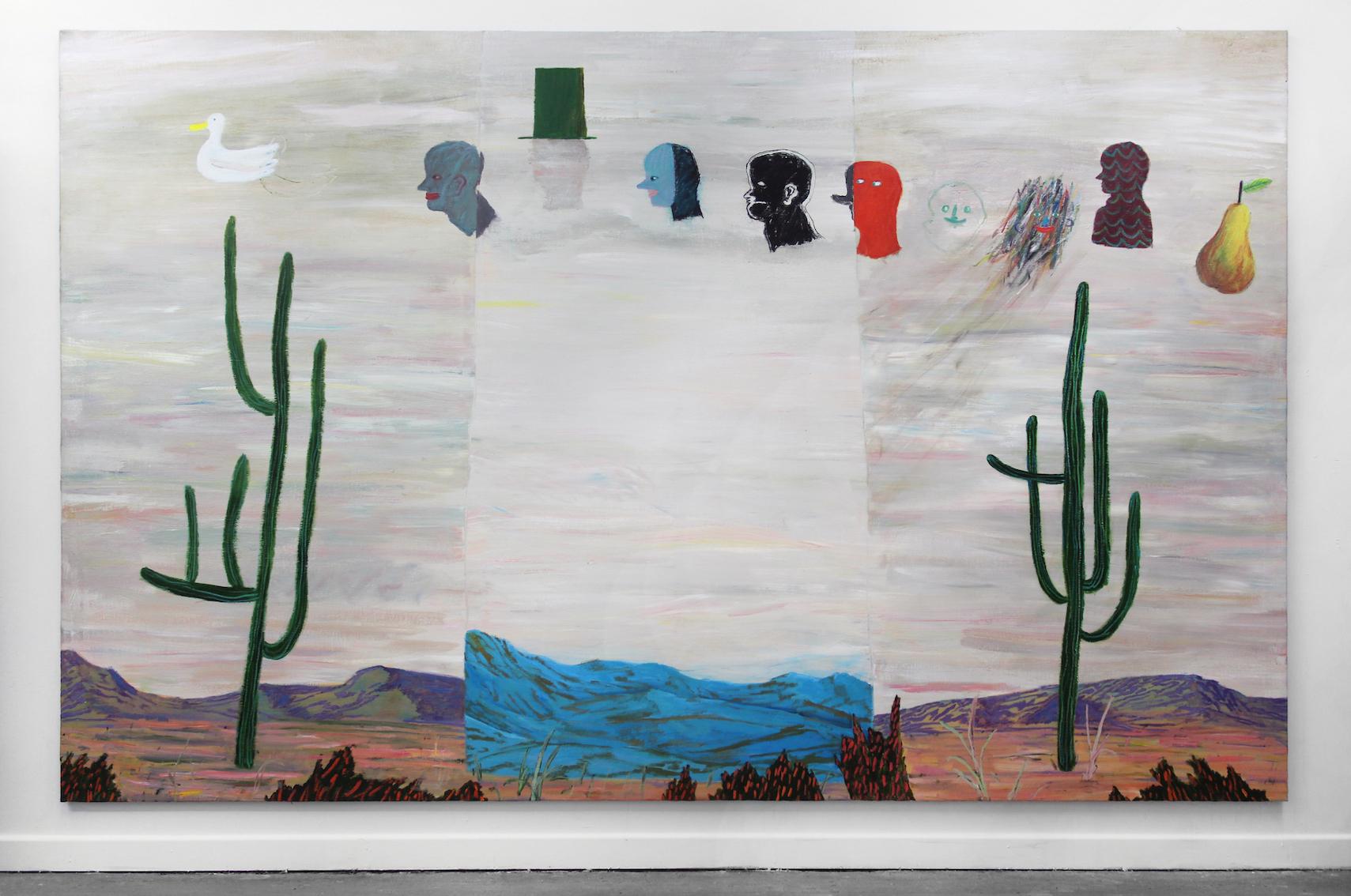 Boltzmann's Desert , 2019  acrylic on flax  350 x 220cm