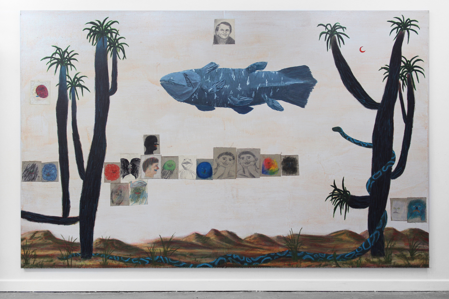 Carl and the Coelacanth,  2019   acrylic and pastel collage on flax  350 x 220cm