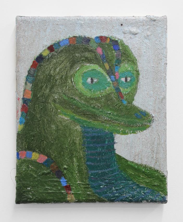 Reptiloid , 2019  acrylic on jute  25 x 18cm