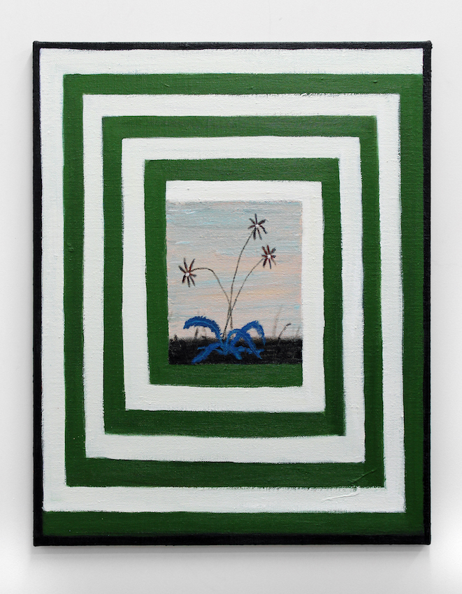 Plant of Quilt , 2019  acrylic on flax  77 x 61cm