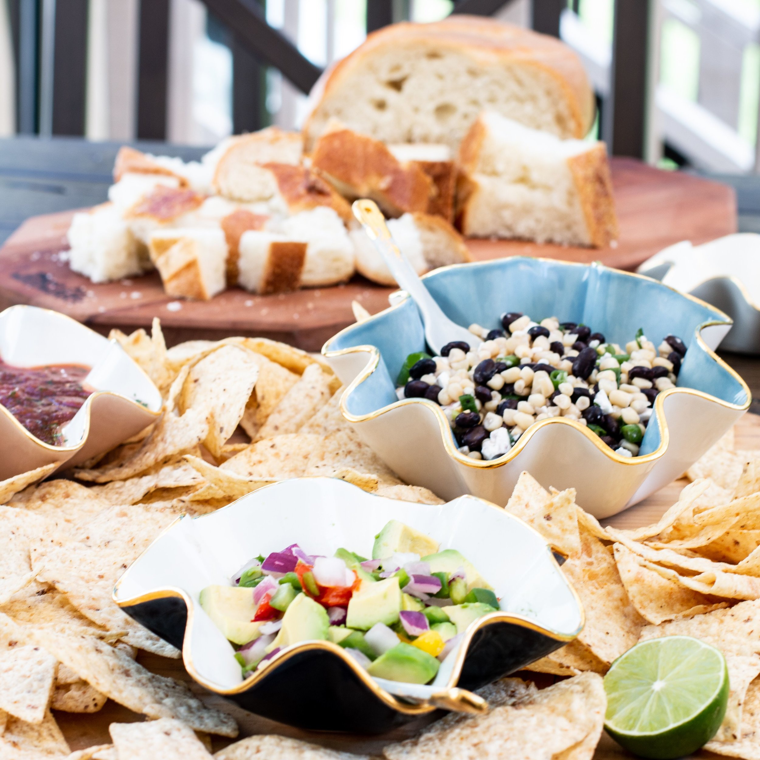 Mix wavy bowls in assorted sizes for dips and spreads - shop here.