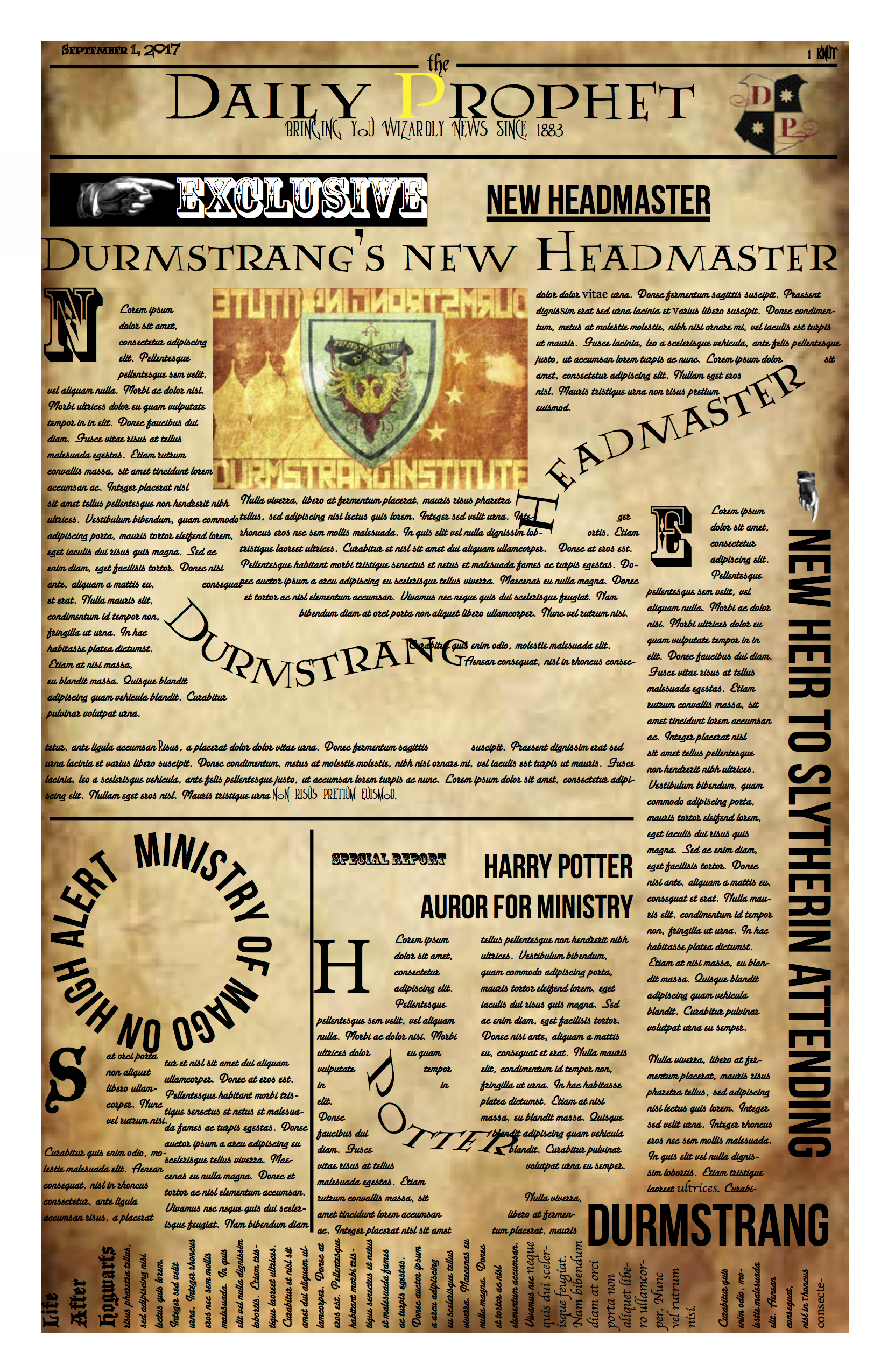 If you love Harry Potter, then you'll understand this weird and quirky newspaper layout. A homage to The Daily Prophet from the Harry Potter series by JK Rowling, this layout was completed using Photoshop and inDesign. It features floating headlines.