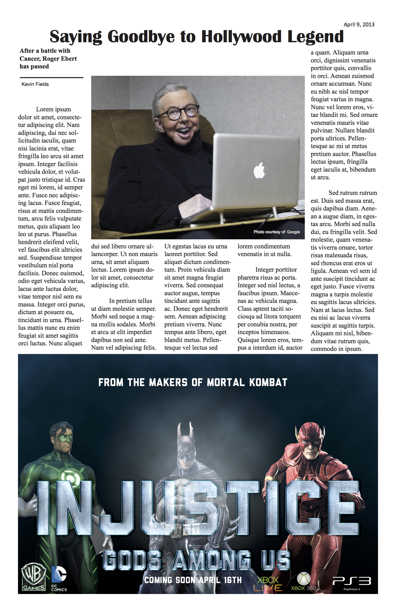 A mock newspaper article from the Entertainment section, this design was created using inDesign and the bottom was created using Photoshop.