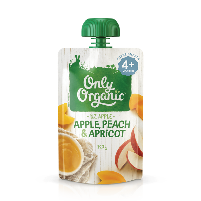 Only Organic apple peach apricot 120g