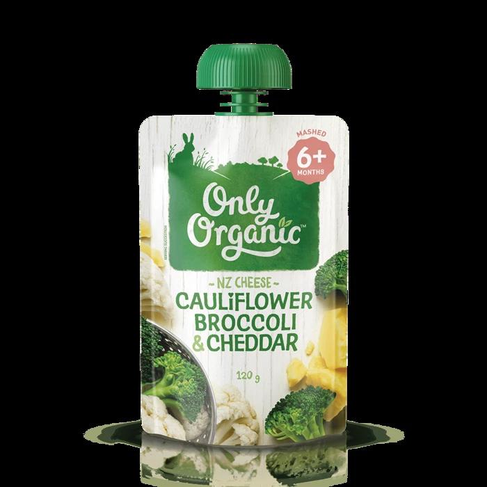 Only Organic cauliflower broccoli & cheddar 120g