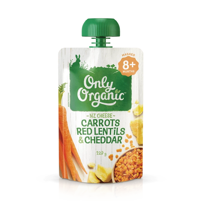 Only Organic Carrot Red Lentils & Cheddar 120g