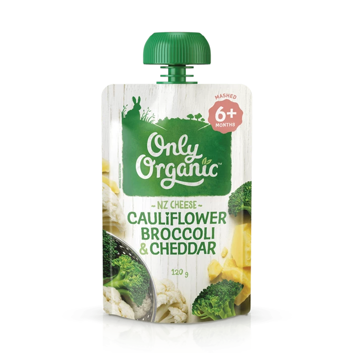 Only Organic cauliflower broccoli & cheddar 120g