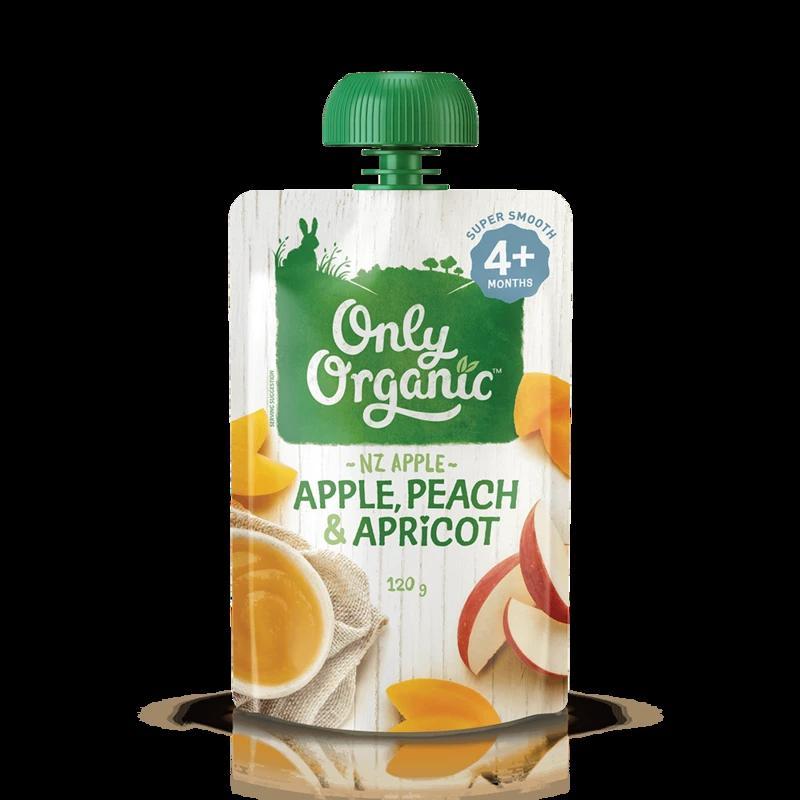 Only Organic apple peach apricot 120g