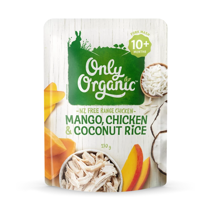 Only Organic mango chicken & coconut rice 170g