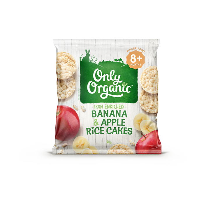 Only Organic banana apple rice cakes 20g