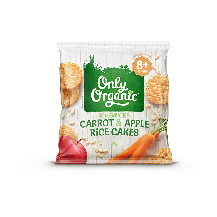 Only Organic carrot apple rice cakes 20g