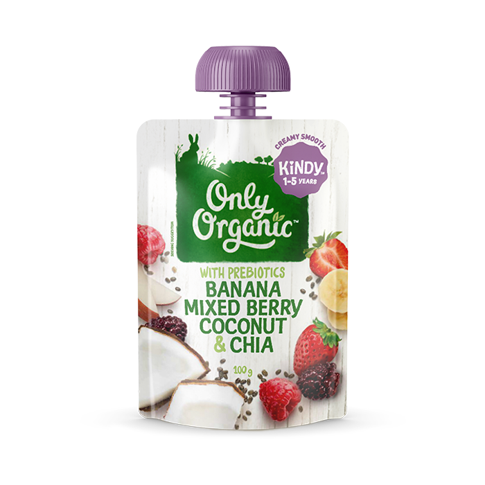 Only Organic banana mixed berry coconut chia 100g