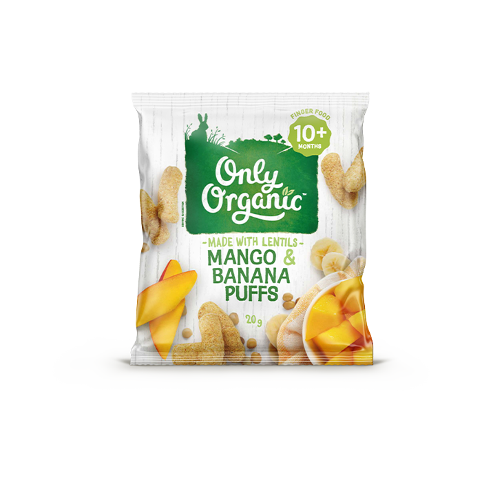 Only Organic Mango & Banana Puffs 20g