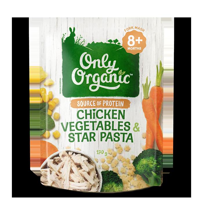 Only Organic Chicken Vegetables & Star Pasta