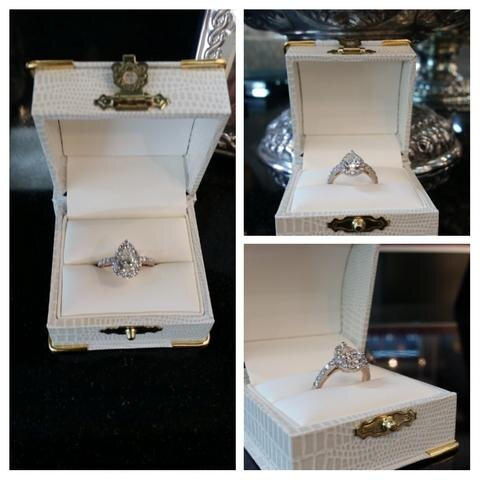 This lovely pear shape diamond engagement ring was custom made for a Maryland bride-to-be whose middle name is Rose. The groom had us accent the ring with rose-gold underneath to pay tribute to her grandmother Rose.