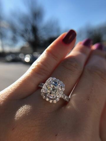 This beautiful H color internally flawless GIA certified cushion brilliant was set with a halo in white gold for a lucky Bethesda bride. We love cushion-cuts at Secrète
