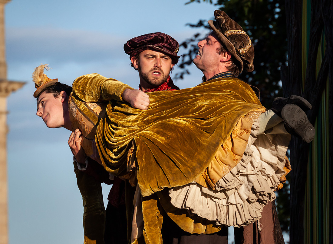 Hermia (Joshua Glenister), Lysander (Alex Wilson) and Demetrius (James Camp)