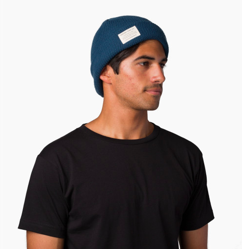 man wearing blue beanie hat