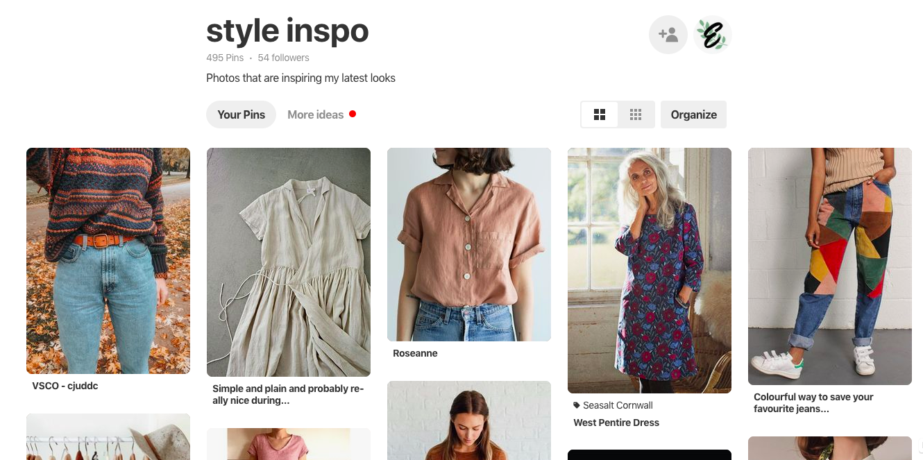 screenshotscreenshot of varying outfits on pinterest