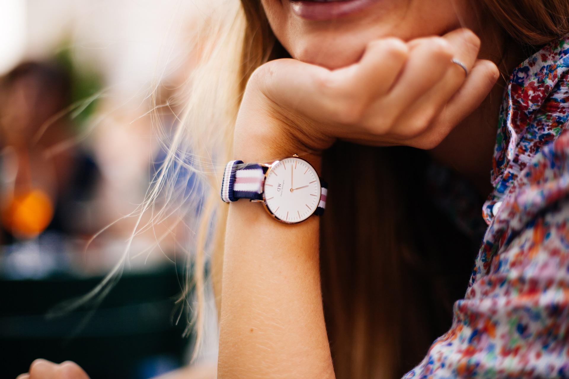 closeup of woman wearing watch